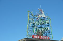 Old Town, Portland, Oregon, Oregon Sign 2. This is the Welcome to Old Town, Portland, Oregon sign against a blue sky royalty free stock images