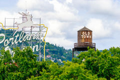 Old Town Portland Oregon. Portland, Oregon, USA - JUNE 11, 2016: The White Stag sign, a former advertising sign, greets those traveling into Old Town on the Royalty Free Stock Images