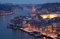 Old town of Porto at dusk Stock Photography
