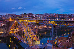 Old town of Porto at night, Portugal Stock Image