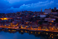 Old town of Porto at night, Portugal Royalty Free Stock Images