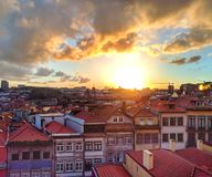 Old Town of Porto at sunset stock image