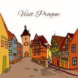 Old town postcard Royalty Free Stock Photos