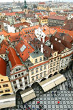 Old town of Prague. Stock Photo: crowded square in the rain, Prague city, Czechia Stock Photos
