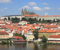Old Town Prague. A view of Prague's Castle and Old Town from the top of Charles Bridge Tower Royalty Free Stock Image