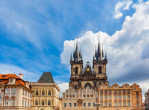 Old Town of Prague buildings, Czech Republic. Tyn Church with historic tenement houses Stock Image