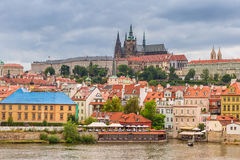 Old town of Prague with castle at Vltava river, Stock Photos