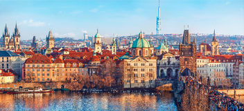 Old town Prague Czech Republic over river Stock Photography
