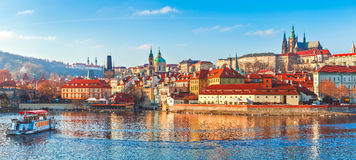 Old town Prague Czech Republic over river. Old town of Prague. Czech Republic over river Vltava with Saint Vitus cathedral on skyline. Bright sunny day blue sky Royalty Free Stock Images