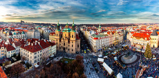 Old Town of Prague, Czech Republic. View on Tyn Church and Jan H Royalty Free Stock Photo