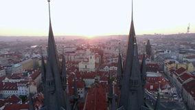 Old Town of Prague with Gothic Church, aerial view stock footage