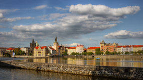 Old Town Prague Landmark. View of the old town of Prague from the riverside stock photography