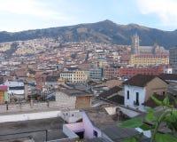 Old Town Quito. QUITO, ECUADOR, 4 OCTOBER 2005: A view over the roof tops of old town Quito. Quito is the capital city of Ecuador and at 2850m above sea level Royalty Free Stock Photography