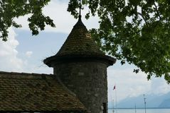 Old town rampart at La-Tour-de-Peiliz. Town on Lake Geneva royalty free stock images