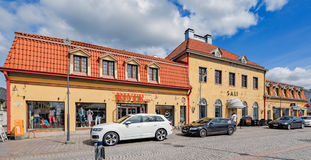 Old Town of Rauma, Finland. RAUMA, FINLAND - May 18, 2016: Few stone buildings on Kuninkaankatu street at Kauppatori the market square of old wooden Rauma stock photography