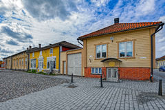 Old Town of Rauma, Finland. Wooden buildings, architecture, streets in Old Town in Rauma, one of the oldest harbours in Finland. Situated on the Gulf of Botnia Stock Photography