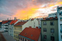 Old town residential buildings with sunset sky in Brno, Czech Republic