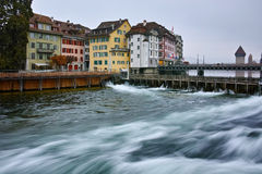 Old town and The Reuss River in Luzerne, Switzerland Stock Images