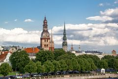 old town in Riga with Castle of Latvian President in center royalty free stock image