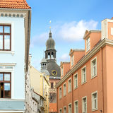 Old town of Riga. Church spire and houses in old town of Riga Royalty Free Stock Images