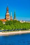 Old Town of Riga and Daugava River Stock Photos
