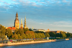 Old town Riga and the Daugava river Royalty Free Stock Photography