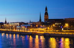 Old Town of Riga (Latvia)  at night Royalty Free Stock Images