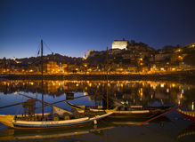 Old town river area of porto in portugal at night Stock Photo