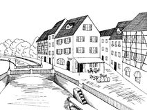 Old town river bridge house graphic art black white illustration Royalty Free Stock Photography