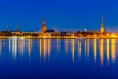 Old Town and River Daugava at night, Riga, Latvia Royalty Free Stock Images
