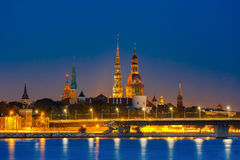Old Town and River Daugava at night, Riga, Latvia Royalty Free Stock Photo