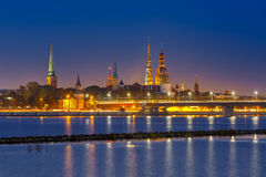 Old Town and River Daugava at night, Riga, Latvia Stock Photos