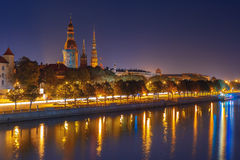 Old Town and River Daugava at night, Riga, Latvia Royalty Free Stock Images