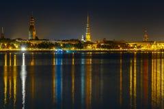 Old Town and River Daugava at night, Riga, Latvia Royalty Free Stock Image