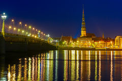 Old Town and River Daugava at night, Riga, Latvia Royalty Free Stock Photography
