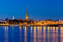 Old Town and River Daugava at night, Riga, Latvia Stock Image