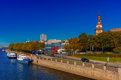 Old Town and River Daugava, Riga, Latvia stock images
