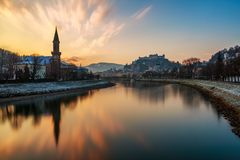 Old town and river view in Europe with sunset sky background Royalty Free Stock Image