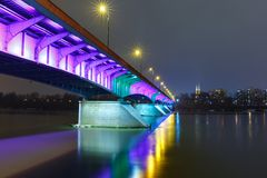 Old Town and river Vistula at night in Warsaw, Poland. Stock Photography