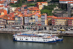 Old Town River Waterfront in Porto. Old Town of Porto in Portugal. Cruise ships docked at old waterfront in the historical city centre Stock Photography