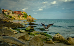Old town on a rock cliff. At seashore Stock Photography