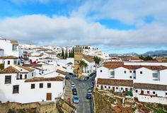 Old Town of Ronda, Spain. A View of an Old Town of Ronda from the Gate of Philip V Stock Photo