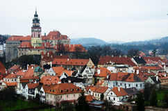 Old town roof view, Cesky Krumlov Stock Photos