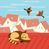 Old town roofs. City rooftop. Cat on rooftop. Birds flying in blue sky. Couple of Sparrows. Cityscape Concept. Town panoramic view. Building rooftops. Vector royalty free illustration