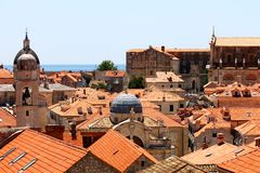 Old town roofs in Dubrovnik. View over Dubrovnik old town from Croatia royalty free stock photography