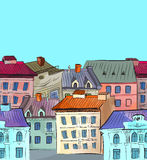 Old town roofs seamless border Stock Image