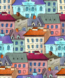 Old town roofs seamless pattern Stock Image