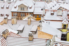 Old town roofs in winter, Prague, Czech republic Royalty Free Stock Images