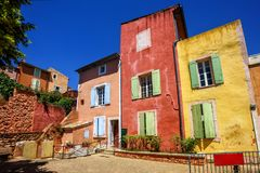 Old Town of Roussillon, Provence, France. Traditional colorful houses in the Old Town of Roussillon, Provence, France stock photography
