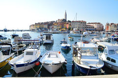The old town of Rovinj. Rovinj, Croat - September 11, 2015: The old town of Rovinj seen from the sea. Saint Euphemia Cathedral rises above the town. Many boats Royalty Free Stock Photo